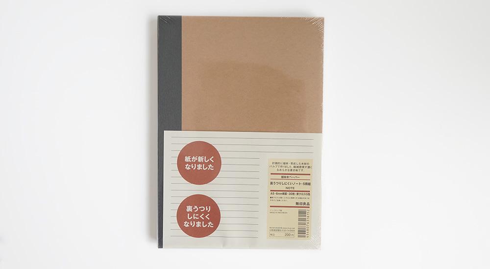 無印良品 裏うつりしにくいノート・5冊組