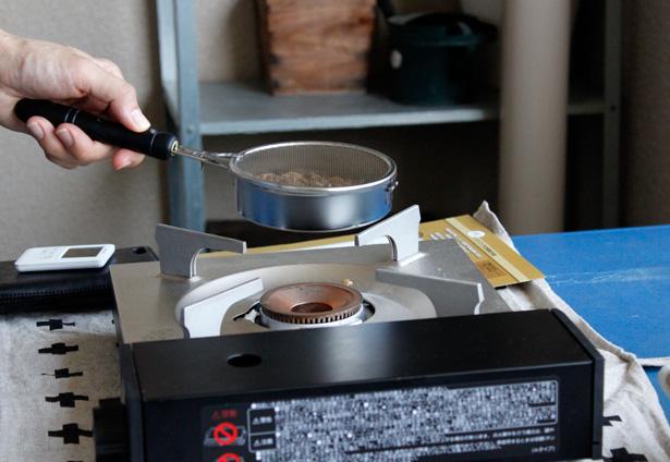フェリシモの『本格珈琲焙煎生豆キット』、焙煎の様子