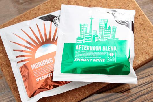 南青山マメーズのドリップバッグコーヒー「アフタヌーンティーブレンド」と「モーニングブレンド」