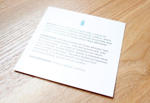 ブルーボトルコーヒー通販のブレンド THREE AFRICANS カード