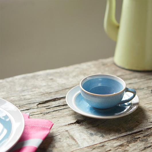 ベルギーのストーンウェア食器シリーズ  「デューン」のカップ&ソーサー ブルー