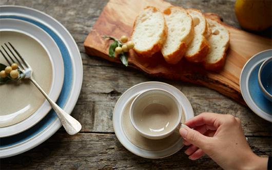 ベルギーのストーンウェア食器シリーズ  「デューン」のカップ&ソーサー・ボウル・プレート