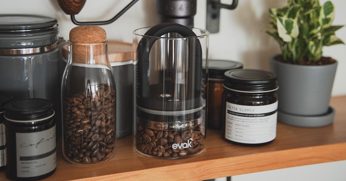 空気が抜ける prepara EVAK / イヴァーク のキャニスター、  コーヒー豆の保存に最高かも。