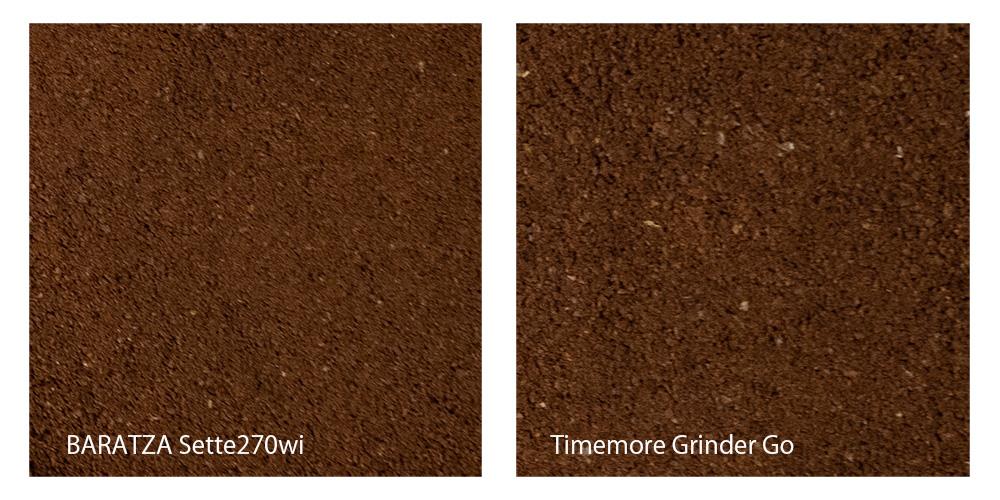 Timemore Grinder Go BATRAZA 挽き具合の比較