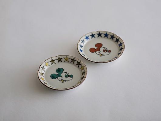 ディズニーコレクション/日本生活 九谷焼 花型小皿 ミッキー2色