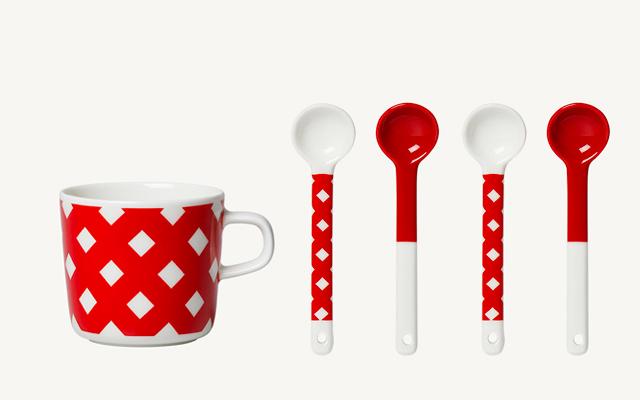 marimekko(マリメッコ)Okko 赤 スプーン・コーヒーカップ