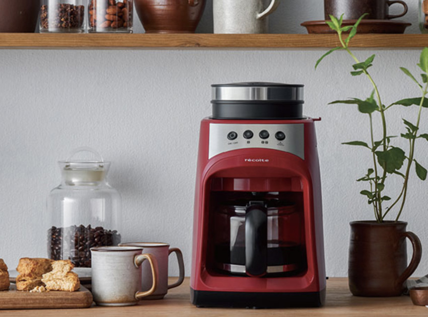 recolte レコルト グラインド & ドリップコーヒーメーカー フィーカ レッド