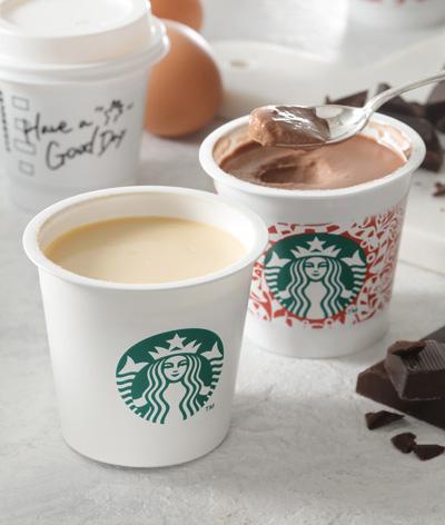 スタバオリジナル『ミルクカスタードプリン』と『チョコレートプリン』